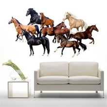 Home Decor 3D Horse Wall Stickers Wall Decals Vinyl Stickers Room Decor for Livingroom/Bedroom Home Decoration(China)