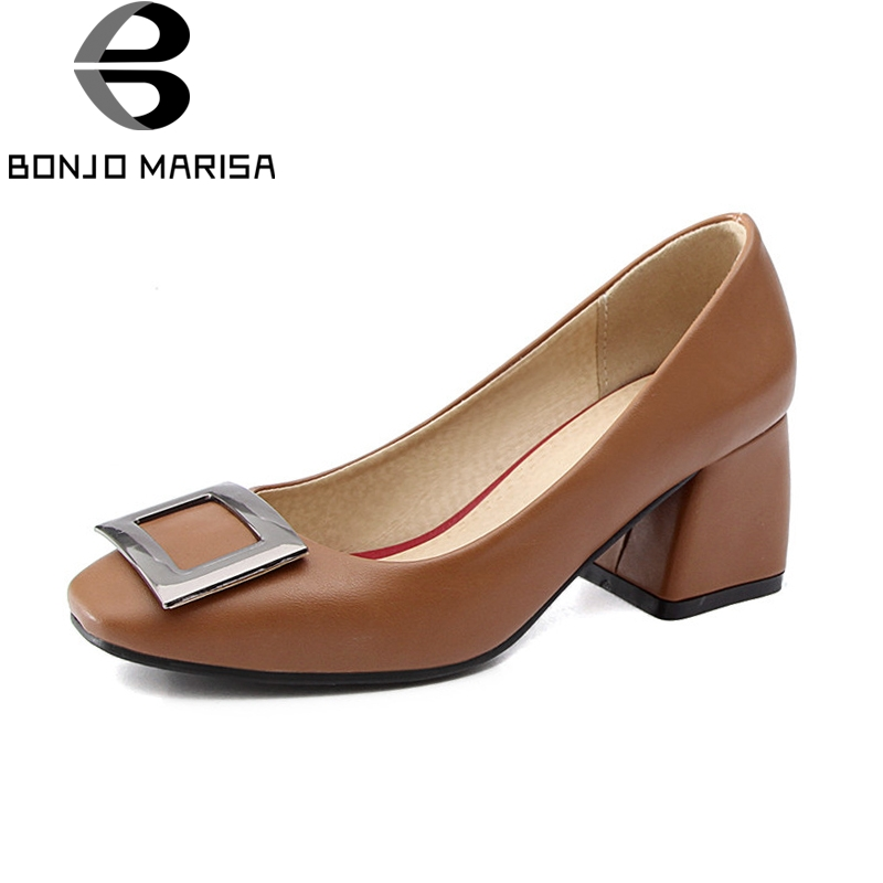 BONJNOMARISA Womens Square Buckle Decoration Slip On Official Pumps Med Chunky Heel Shoes Woman Big Size 34-43<br>