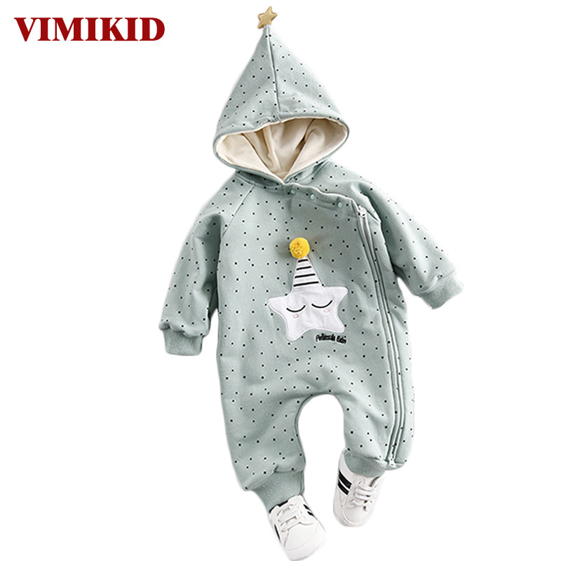 VIMIKID 2017 Baby Clothing Winter Thick Warm Comfortable Jersey Star Zipper Cotton Romper forToddler Baby Girls Children Clothe<br>