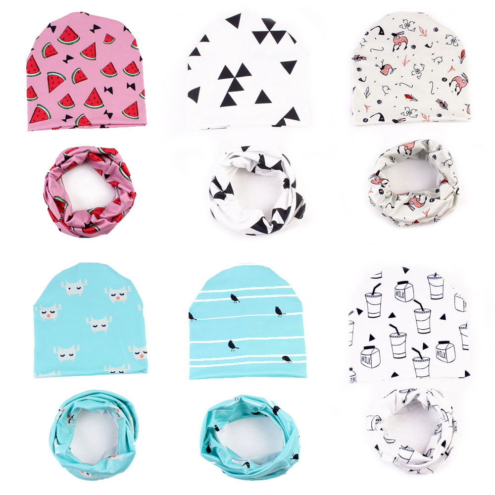glittery sweet New Baby Hat Infant Hat Scarfs 2 Pcs Set Baby Cap Boy Girl Baby Children Cap Newborn Variety Of Patterns Cute Hat(China)