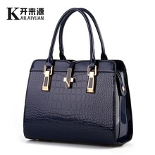 KLY 100% Genuine leather Women handbags 2018 New crocodile pattern Women messenger bags handbags women famous brand Fashion bag(China)