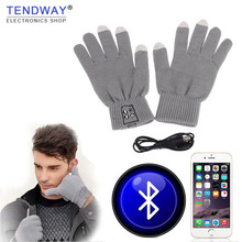 Winter Gloves Bluetooth Headphones Wireless Touch Screen Mobile Headset with Mic Gloves Speaker Auriculares for Xiaomi Samsung(China)