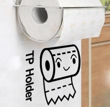 Monochrome Rolls Wall Stickers Bathroom Cabinet Toilet Decorative TP Holder Rolling Paper Sticker(China)