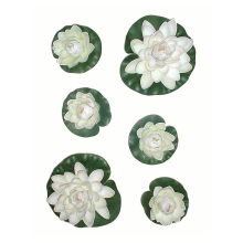 6pcs Artificial Pond Plants Lotus Lilies flower faux silk floating flower fake Craft Water Lily plant leaf