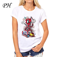 PinHe 2016 Fashion Deadpool Design T shirt Women Novelty Tops Short Sleeve Tee shirts femme american apparel