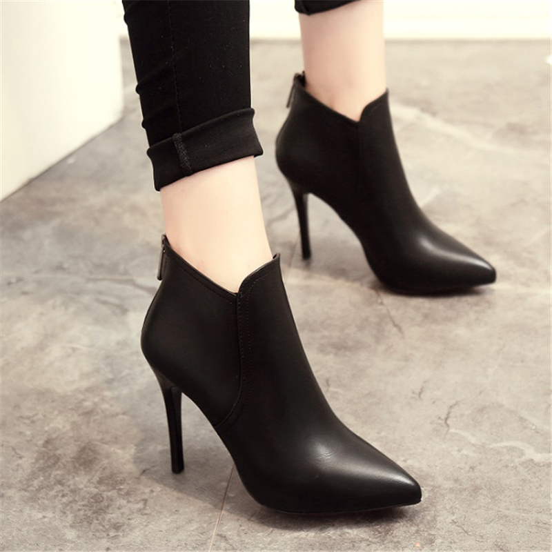 JIANBUDAN Brand fashion high-quality thin high-heeled pointed boots 2017 new professional womens shoes zipper black bare boots<br><br>Aliexpress