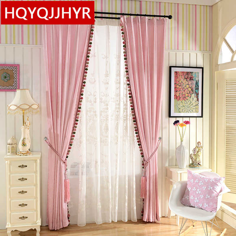 European luxury double-sided chenillev Blackout curtains for Bedroom High-grade pink curtains for Living Room Solid curtain