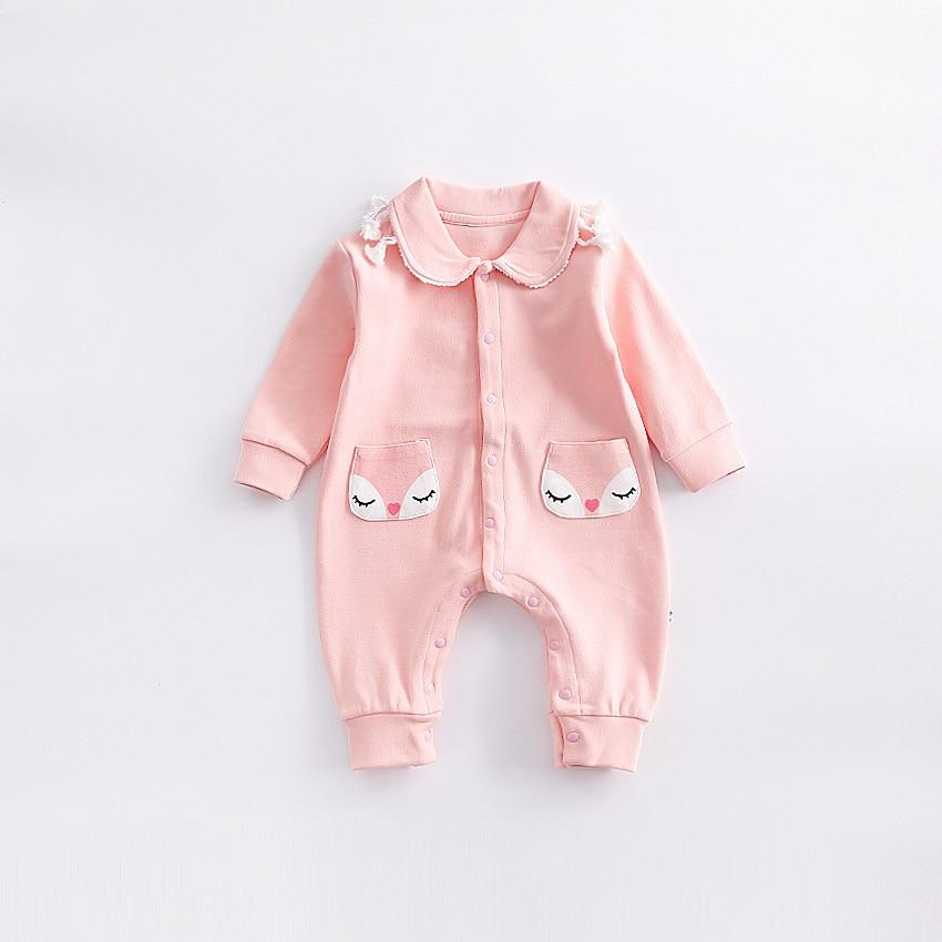 Peninsula Baby Onesie Newborn Boys Girls Climbing Clothes Autumn Winter Thicken romper Soft Baby Jumpsuit Cute Infant Fox pocket<br>