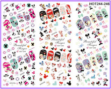 3 PACKS / LOT CARTOON MOUSE MINNIE NAIL TATTOOS STICKER WATER DECAL NAIL ART HOT244-246
