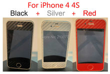 3pcs/Lot 3D Textured CARBON Fibre Skin Wrap Sticker Cover Decal NOT CASE for iPhone 4 4S