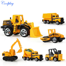 COOLPLAY 6pcs/set mini Engineering vehicle model boys Toy Vehicle excavator bulldozer Dump truck Educational toys for children