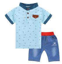 2016 NEW ARRIVAL baby summer collection of printing T shirt + shorts pants suit baby boy clothing set