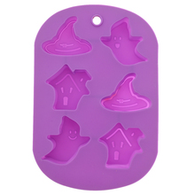 6-Holes Haunted House Shaped Soft Silicone DIY Cupcake Chocolate Candy Jelly Dessert Baking Mold Mould Ice Cube Tray (Purple)