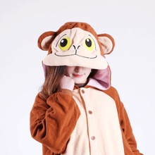 Winter Warm Brown Monkey Onesies Pajama Sets Adult Women Men Cosplay Costume for Party Animal Pyjamas Homewear All in One Suit