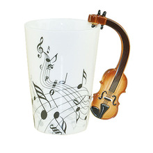 CTDSGW000287 Creative Music Violin Style Guitar Ceramic Mug Coffee Tea Milk Stave Cups with Handle Coffee Mug Novelty Gifts(China)