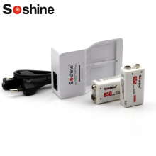 Original Soshine 9V battery Charger with 2 pcs 650 mah Soshine battery Bateria lithium-ion polymer rechargeable 9V battery