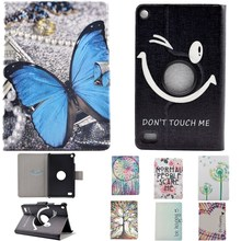 Cute Cartoon Painted 360 Rotating PU Leather Stand Flip Case Cover For Amazon Kindle Fire 7 2015 Tablet Cover 7 Inch Card Slot