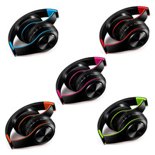 five colors wireless Bluetooth headphone stereo headband headset support SD card with mic for xiaomi iphone sumsamg tablet(China)