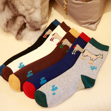 Cartoon Pattern Of Horse Fashion In tube Men's Cotton Socks  Lovely Animal Autumn Male Sock Korea And Japanese Boy Casual Sox
