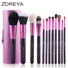 Zoreya Brand Hot Sales 12pcs Natural Goat hair makeup brushes for women Professional Cosmetic tool MakeUp Powder Brush Set(China)