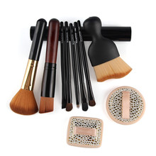 10pcs Makeup Brush Comestic Set Beautician Concealer Powder Foundation Eyeshadow Lip Blending Brush Tools With 2 Wet Powder Puff