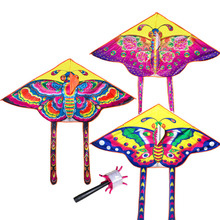 90*55cm Nylon Rainbow Butterfly Kite Outdoor Foldable Children's Kite Stunt Kite Surf with 60M Control Bar and Line Random Color