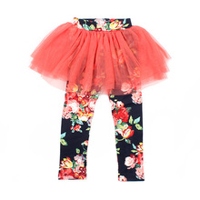 Baby Kid Baby Girl Child Culottes Floral Leggings Tutu Dress Tulle Pants Skirts 2-7