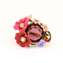 France Les Nereides Enamel Glaze Copper Trendy Luxurious Double Colour Peony Flower Gem Women Ring(China)