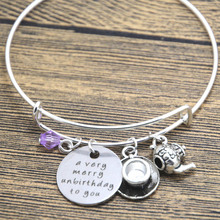 12pcs/lot Alice in Wonderland inspired unbirthday bracelet A very merry unbirthday to you Tea Party Fairytale Jewlery bangle(China)