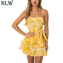 Buy NLW Yellow Boho Print Mini Dress Strap Ruffle Wrap Dress 2018 Women Summer Backless Peplum Sexy Dress Chic Beach Party Vestidos for $17.99 in AliExpress store