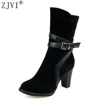 Buy ZJVI womens nubuck high heels women mid calf boots female Black Winter 2018 women ladies fashion buckle worm short plush shoes for $34.99 in AliExpress store