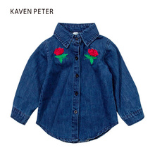 2017 Autumn spring fashion boy Cowboy shirt long sleeve gril rose shirt Kid embroidered denim shirt child blue blouse(China)
