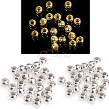 100pcs Silver/Golden Plated Round Ball Metal Spacer Beads 4mm/5mm/6mm/8mm