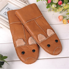 2017 Winter warm Gloves kids Gloves sheepskin fur Thicken mittens Children Leather Gloves(China)