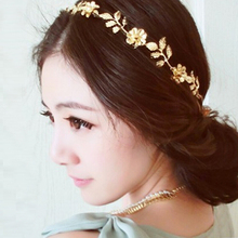 Women Ladies Beauty Golden Alloy Baroque Leaf Flower Headband Hair Band Hair Accessories 6X85(China)