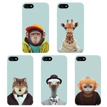 2017 Top Cartoon Animal Head Design Phone Case Skin Cover White Hard Case Cover For Iphone 7 Case
