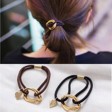 Fashion Women Hair Accessories Headwear Girls Ornament Rubber Elastic Hair Bands Double Round Circle Metal Hart Hairbands(China)