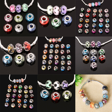 Fashion 50pcs/lot 10*14mm Random Mix European Glitter Powder Cut Faceted Big Hole Beads for DIY Charms Bracelet Jewelry Findings