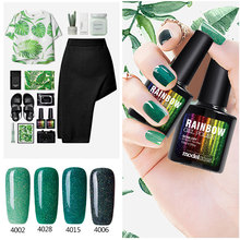 Modelones 2017 Newest Spring Green Color Series UV Nail Gel Polish Long Lasting Neon Nail Glue Soak Off Semi Permanent Gelpolish