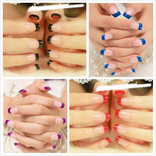 Colorful French False Nails Natural 96pcs Short Full Cover Simple Design Square french artificial nails(China)