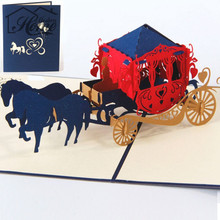 Wedding lnvitations Love Carriage 3D Laser Cut Paper Cutting Greeting Pop Up Kirigami Card Custom Postcards Party Wishes Gifts