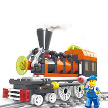 Block Toy Train Series Track Building Kit Locomotive Train Model Blocks City Transport Children Educational Toys Christmas Gift(China)