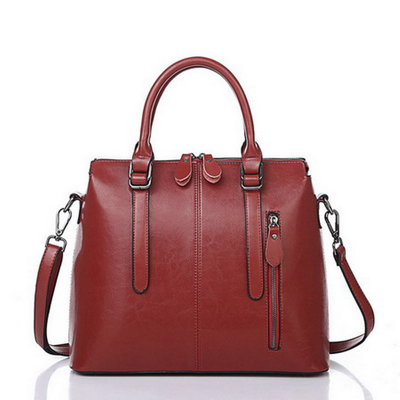Luxury Women Handbag Oil Wax Leather Large Capacity Casual Female Bag Pillow Zipper Soft Casual Top-handle Ladies Bolsos Mujer<br>