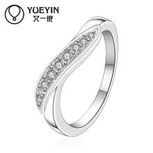Wholesale silver plated wedding rings for women twisted ring inlaid stones Bridal jewelry ornaments Classic anillos mujer(China)