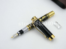 Chinese Painting Two horses Landscape White stone BLACK golden piece Trim MFountain Pen