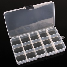 New Adjustable 1 PC 15 Cells Compartment Plastic Storage Box Jewelry Ring Bead Nail Tips Tiny Stuff