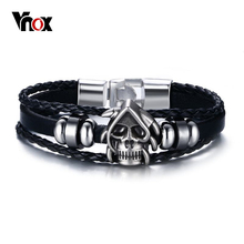 Vnox Punk Skull Men Bracelet Beaded Charms PU Leather Gothic Cool Rock Bracelets & Bangles Ghost Head(China)