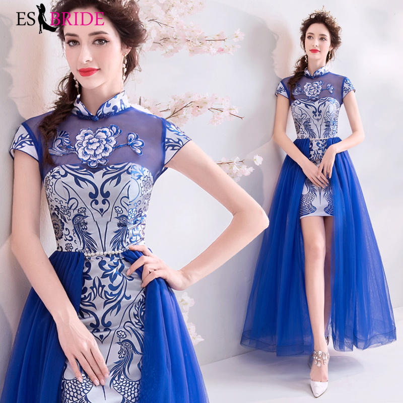 Long Evening Gowns 2019 New Arrival Elegant A-Line Royal Blue Casual Lace Dress Party Formal Short Sleeve Robe De Soiree ES2209