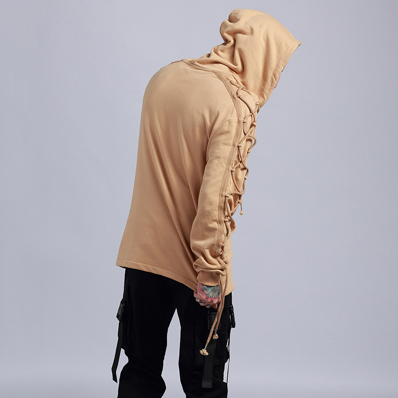 Fashion Hoodies Men Sweatshirt Male Hip-hop Hooded Loose Style Personality Bundled ribbon Jacket Casual Moleton Hoody Overcoat