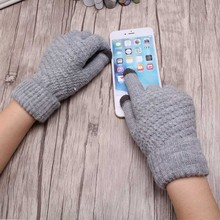 Miya Mona Hot Selling New Women Warm Winter Knitted Full Finger Gloves Mittens Girl Female Solid Woolen Gloves Screen Luvas(China)